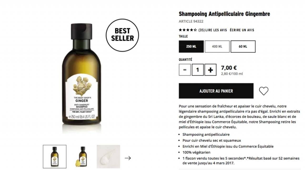 Shampoing anti pelliculaire Gingembre - Body Shop